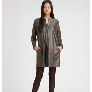 Vince 100% leather shirt dress in gray